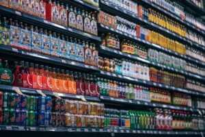 shelf full of beverages