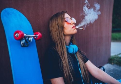 girl enjoying weed